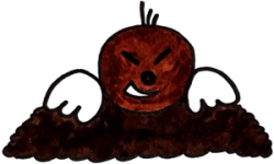 Maulwurf guckt aus Maulwurfshügel