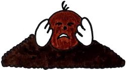 Maulwurf auf Maulwurfshügel hat Angst